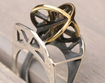 Ring -Construction, Silver & Brass Ring,  Da Vinci Ring,  Handmade Ring, Ring With Unique Design
