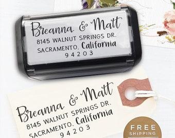 Custom Address Stamp, Calligraphy Stamp, Custom Stamp,  Personalized Stamp, Wedding Stamp, Self Inking Stamp -  Breanna
