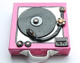 Pink Mini Retro Record Player, Unique Wall Art, Music Lovers Art, Canvas, Clay,