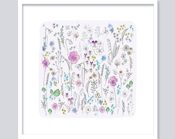 Watercolor Meadow with violet (viola) flowers-Fine Art Giclée print-modern flowers-Watercolor print