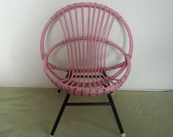 Dutch little rattan chair, ROHÉ NOORDWOLDE, children's chair, vintage kids chair