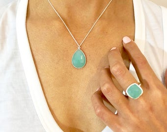 GIFT SET - Silver Gemstone Pendant Gift Set - Silver Jewelry - Aqua Chalcedony Necklace - Ring Necklace Gift Set