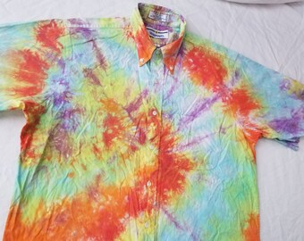Purple Psychedelic Rainbow Tie Dye Short Sleeve Beach Shirt - Large Mens Cotton 16 Hand Made