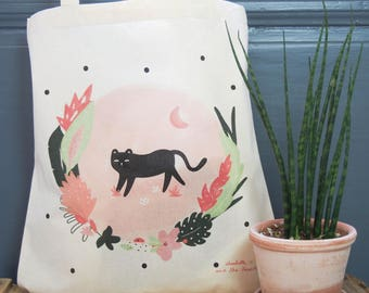 "Eco-friendly cotton Tote bag ""Jün"" - Natural /Fair trade/ Organic / Illustration- Green/Mint/Pink - Tropical/Summer/Jungle"