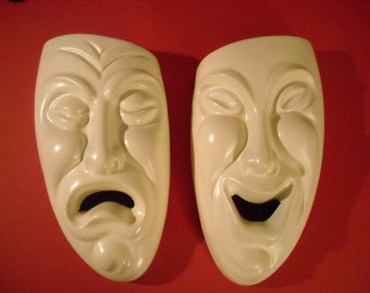 Mid Cenutry Modern Wall Plaques    Comedy/ Tragedy