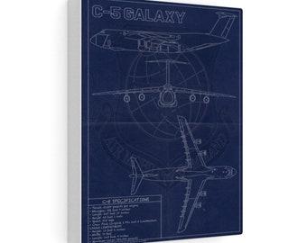 C-5 Vintage Style Blueprint Canvas Gallery Wraps
