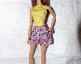 Colorful purple spotted shorts & yellow top for Fashion Dolls - ed957