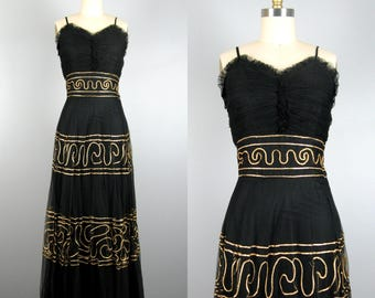 Vintage 1940s Tulle Dress 40s Black Tulle Evening Gown with Gold Soutache Size S