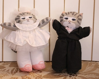 Vintage Two Cats in Wedding Attire Bride and Groom 1989 by Applause