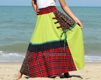 Cotton Maxi Skirt Cotton Hippie Women Long Skirt Summer Full Patch Work Costume Skirt A Line
