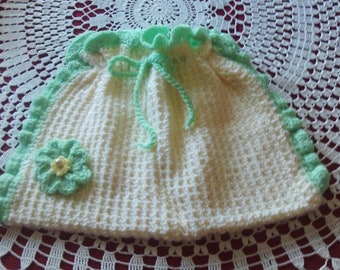 Drawstring,bag,mint,cream,flower,gift,accessories,bags,crocheted,girls,women,door prize,teens