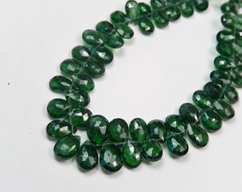 Apatite Gemstone Bead.  Semi Precious Gemstone Bead. Faceted Green Apatite Pear Briolette  7.5-9mm Pairs or NonMatch 1 - 9 Briolettes (52ap)