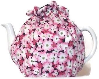 Teapot Cozy, quilted tea warmer with Pink Dogwood Flowers  for a 5-8 cup teapot #498