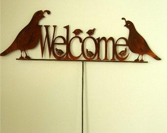 Quail Family Welcome, Metal Garden Stake