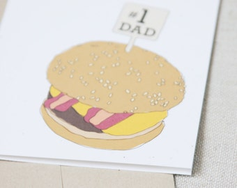 Number 1 Dad / Happy Father's Day Card / Burger Illustration / Funny Card for Dad / Hamburger Card / Card for Husband / Fun Food Card