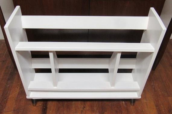 Mid Century Modern white  book rack