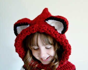 Fox Hat - Fox Hoodie - Fox Cowl - Animal Hat - Hooded Scarf - Crochet Hoodie - Chunky Crochet Hat