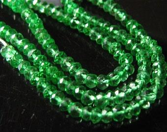 SALE- 6.5 Inch 1/2 Strand of Hydro Green Quartz Faceted rondelles semi precious gemstone beads 2.5mm -2.75mm