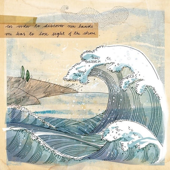 New Shores - Wall Art Print wave illustration blue