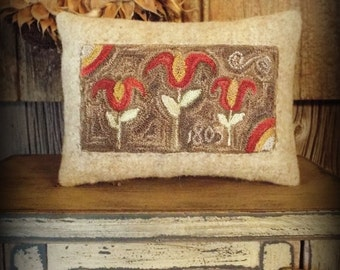 E Pattern Punch Needle Primitive Pillow Tulips