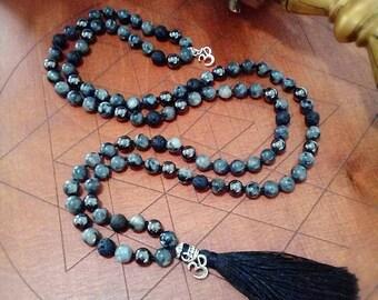 Hand knotted mala, Norwegian Labradorite, Hematite, Lava, 108 Mala Bead, Mala Necklace, Prayer Beads, Jewelry, Japa Mala, Tassel Necklace