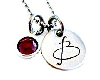 Hand Stamped Initial birthstone necklace - Initial Jewelry - Initial Necklace