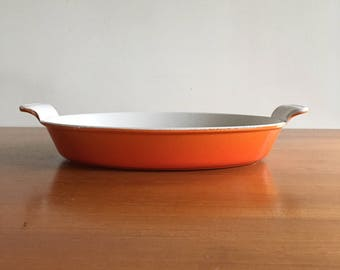 Gorgeous heavy cast iron orange oven dish, years 60 made in France