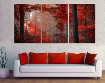 3 Panel Split beautiful red forest Canvas Print, Red leafs forest. For office decor & interior design great for holiday giftwall art