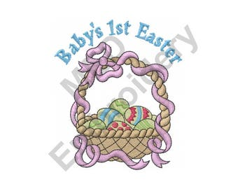 Easter Basket - Machine Embroidery Design, Baby's First Easter, Baby's 1st Easter