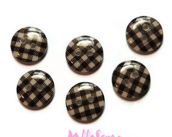 Set of 8 buttons embellishment Brown gingham scrapbooking card *.