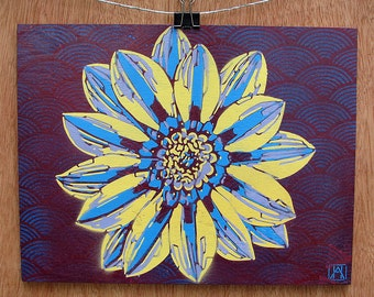 Purple Flower Multilayer Graffiti Stencil Art on Stained Wood Panel