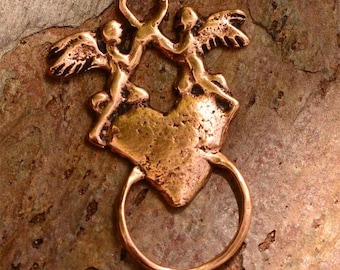 Angels on Heart Charm Holder in Copper Bronze, R-186