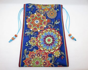 "Colorful Floral Mandelas Silk Lined Jumbo Tarot Card Pouch, Tarot Card Bag, Handmade 5 1/2"" x 8 1/2"" tall"