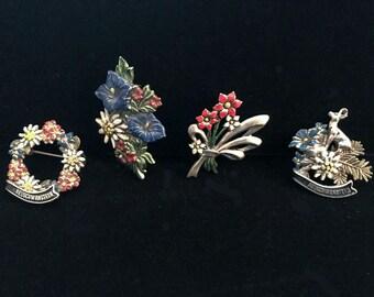 Vintage Tyrolean Hat Pins Bavarian, German Hiking Badges, Neuschwanstein, Black Forest, Oktoberfest, 4 Alpine Hat Pins
