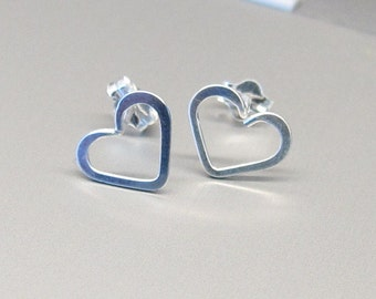 Dainty Heart Earrings-Heart Post Earrings-Sterling Silver Heart Stud Earrings-Simple Heart Jewelry-Best Friend Gift-Love Jewelry-Open Heart