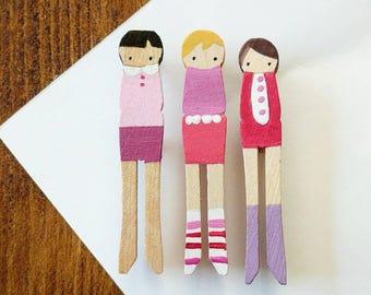handmade wooden folk art mini clothespins brooches  ... sweet love