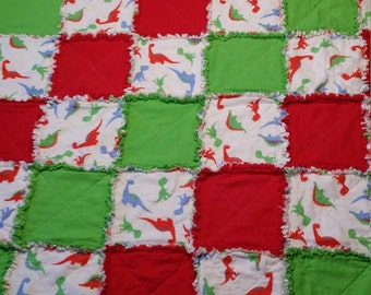 Handmade Cotton Flannel Dinosaur, Red and Green Toddler Quilted Rag Throw