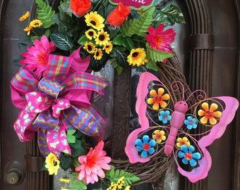 Beautiful butterfly wreath