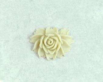 Cream Rose Cabochon Large Rose Cabochon Cream Flower Cabochon Light Beige Cabochon Large Flower Cabochon
