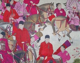 MANUEL CANOVAS CHINOISERIE Glazed Linen Toile Fabric 10 yards Rose Multi