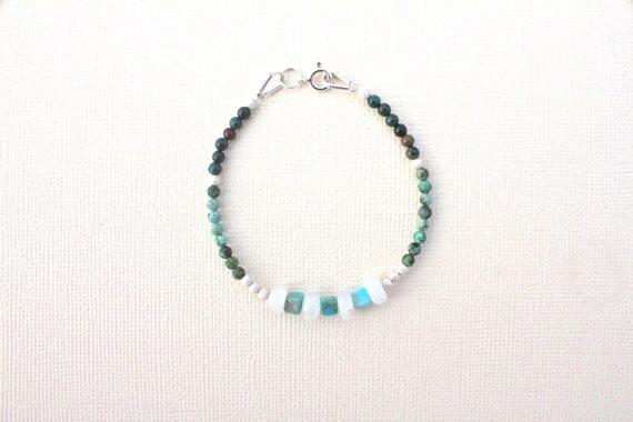 bracelet argent massif et pierres fines : african turquoise, rainbow moonstone et blood stone