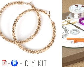 BOHO HOOP Earrings Pattern DIY Kit, Crochet earrings, Jewelry Making kit, Crochet Pattern Kit, Gypsy Bohemian hoops Pattern, Gift For Her