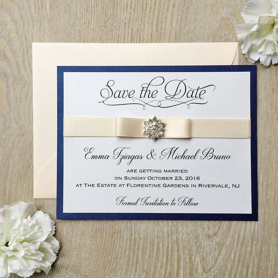 SNOWFLAKE Save The Date - Navy and Blush Save the Date Card - Blush Pink Ribbon and Snowflake Crystal Button - Custom colors available