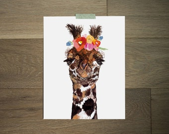 Impression d'art girafe - fleur couronne - animal moderne - art drôle - Boho art - l'art africain