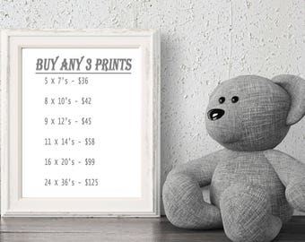 """Set Of Three Prints From My Shop - SPECIAL - Personalized Nursery Art For Girls & Boys - Paris, London And More - 6 Sizes - 5 x 7"""" to Poster"""