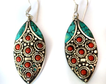 Turquoise lapis Earrings,Ethnic Silver,Boho,Nepal Jewelry,Tribal Vintage Earrings,Silver Antique Earrings Afghan Jewelry