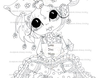 INSTANT DOWNLOAD digitale Digi Stamps Big Eye Big hoofd poppen Digi Love u mam door Sherri Baldy