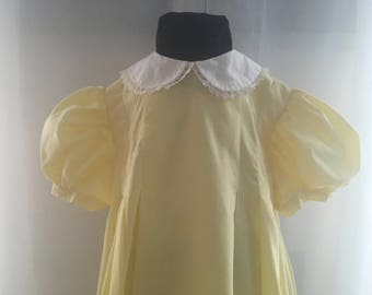 Custom Handmade Pleated All Cotton Dress with Laced Peter Pan Collar | Sizes Girls 5 6 7 8