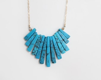 Turquoise Fringe Necklace - Howlite - The ORIGINAL