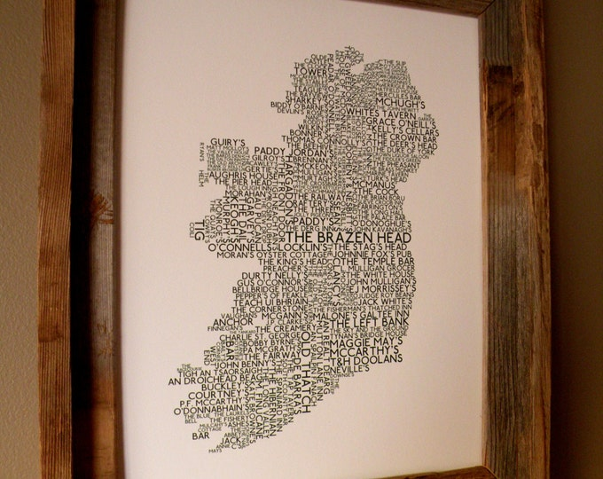 Irish Pubs Word Map Print (White w/ Green Lettering) - Unframed